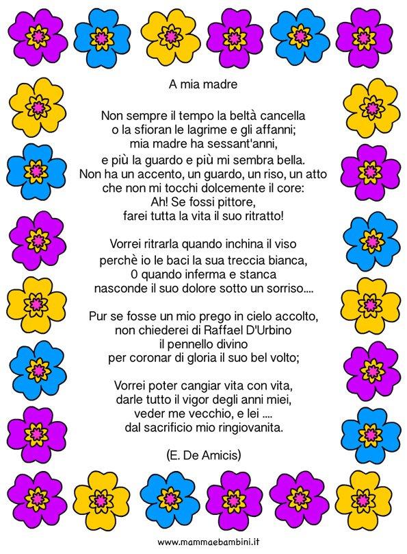 Famoso Poesia A mia madre di De Amicis - Mamma e Bambini FZ41