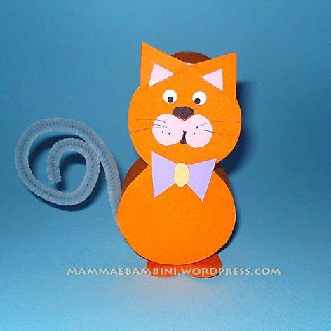 Amato Lavoretti per bambini con cartoncino: gattino - Mamma e Bambini BN44