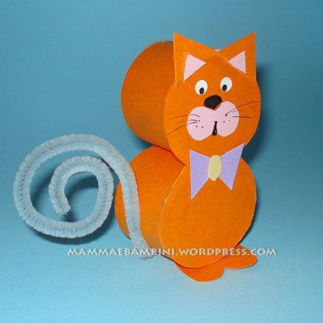 Favoloso Lavoretti per bambini con cartoncino: gattino - Mamma e Bambini LU51