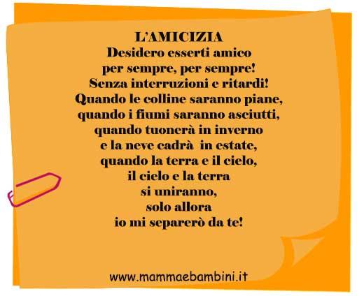 Favori Poesia sull'amicizia - Mamma e Bambini SP78