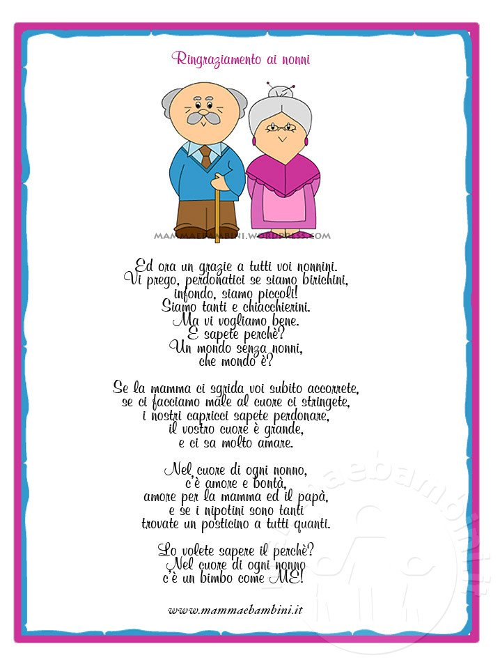 abbastanza Poesia sui nonni con attestato di ringraziamento - Mamma e Bambini CF39