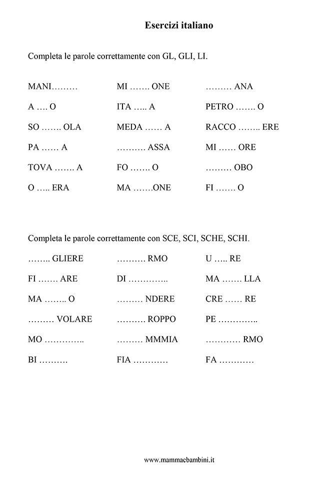 Esercizi italiano consonanti e vocali mamma e bambini for Parole con sche e schi