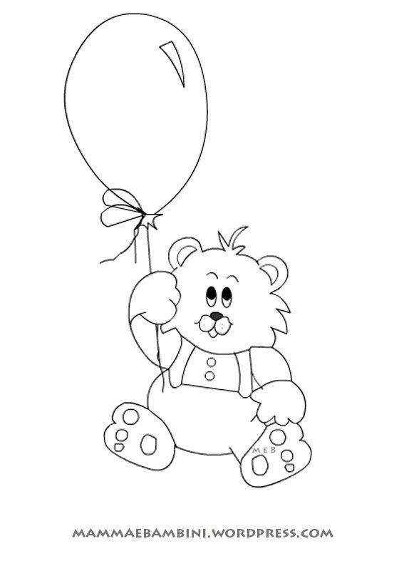 Disegni da colorare orso con palloncino mamma e bambini for Disegno bambina da colorare