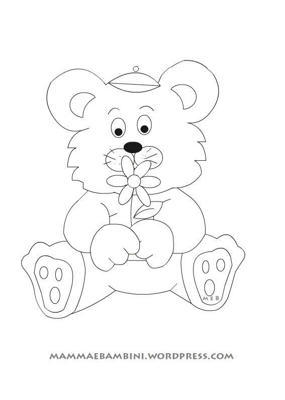 Disegni da colorare orsetto con fiore mamma e bambini for Disegno orso per bambini