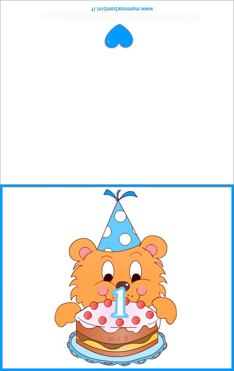 Top Biglietti compleanno 1 anno da stampare - Mamma e Bambini JS18
