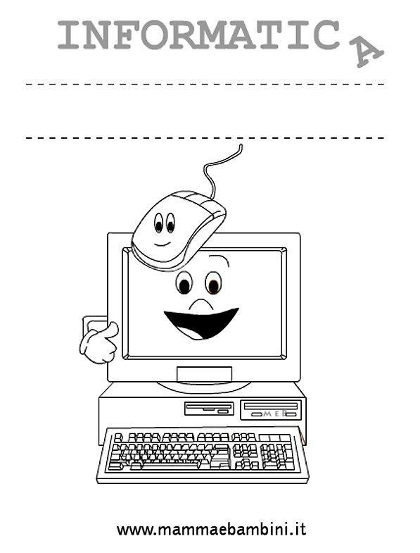 Copertina quaderno per informatica mamma e bambini - Torna a scuola da colorare ...