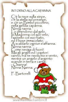 """Poesia Natale con cornice """"Intorno alla capanna"""""""