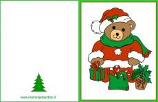 Biglietti auguri Natale: orsetto con regali
