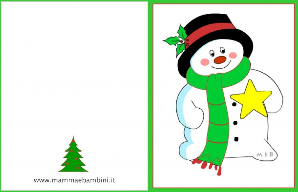 Conosciuto Biglietto auguri Natale: pupazzo neve - Mamma e Bambini KO98