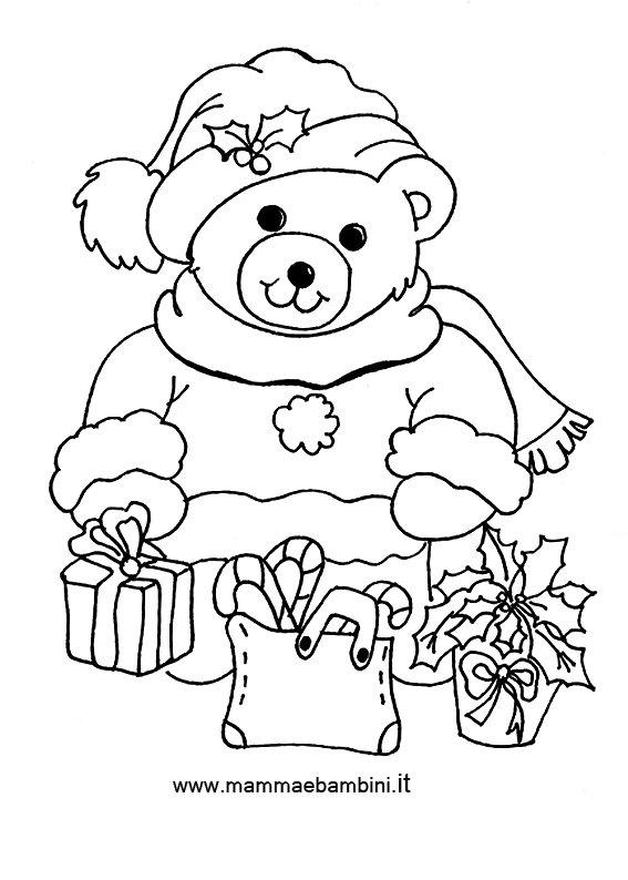 Natale disegni da colorare mamma e bambini for Disegno orso per bambini