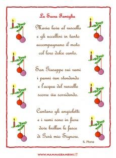 """Poesia Natale con cornice """"La Sacra Famiglia"""""""