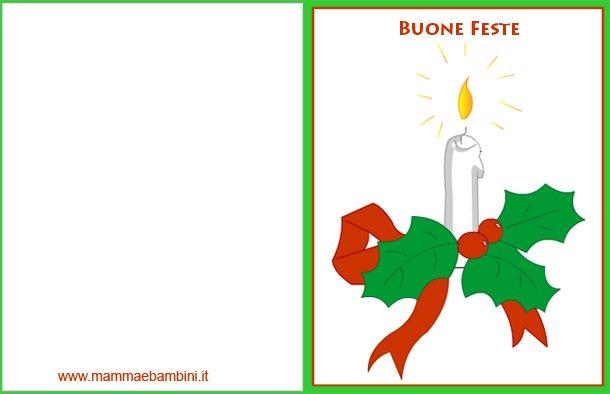 Biglietto natale candela con frasi auguri mamma e bambini for Biglietti auguri natale da stampare