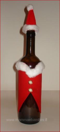 Lavoretto per Natale: bottiglia decorata