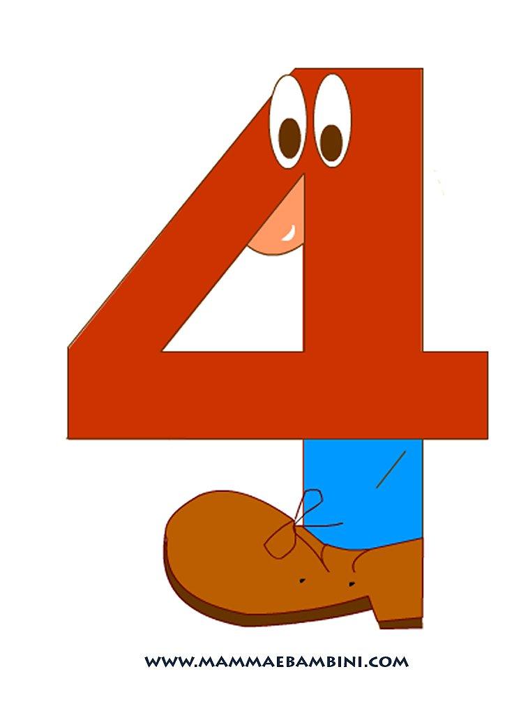 I numeri il 4 mamma e bambini - Colore per numeri per i bambini ...