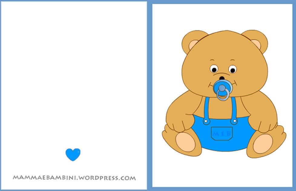 Biglietto auguri nascite orso maschio mamma e bambini for Neonati da colorare e stampare