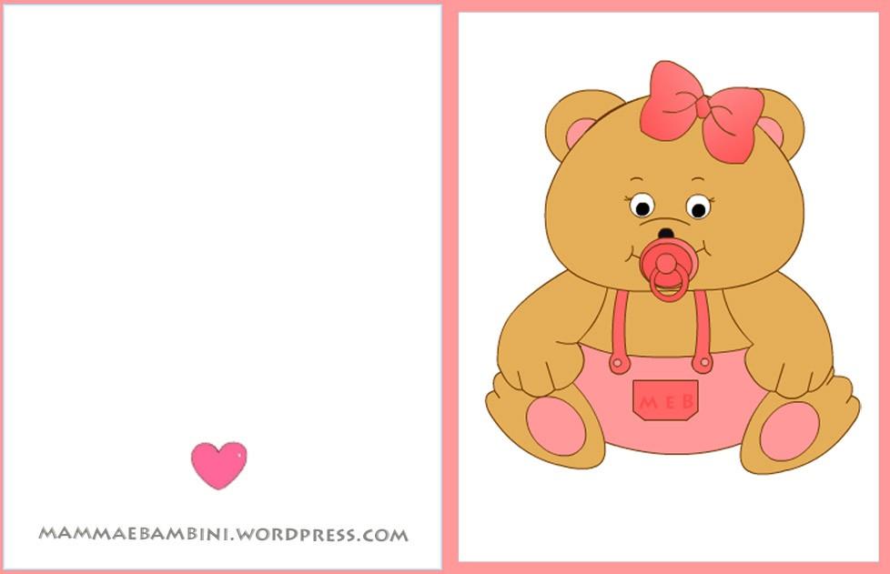 Biglietto auguri nascite orso femmina mamma e bambini for Neonati da colorare e stampare