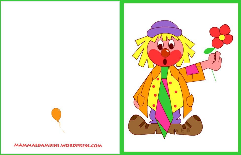 Amato Biglietto auguri compleanno: pagliaccio con fiore - Mamma e Bambini SG97