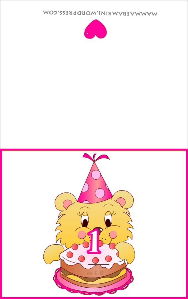 Molto Biglietti auguri compleanno: torta con una candelina rosa - Mamma  IU44