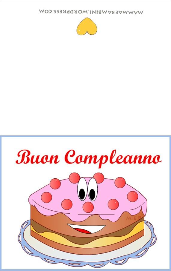 biglietto compleanno torta in PDF