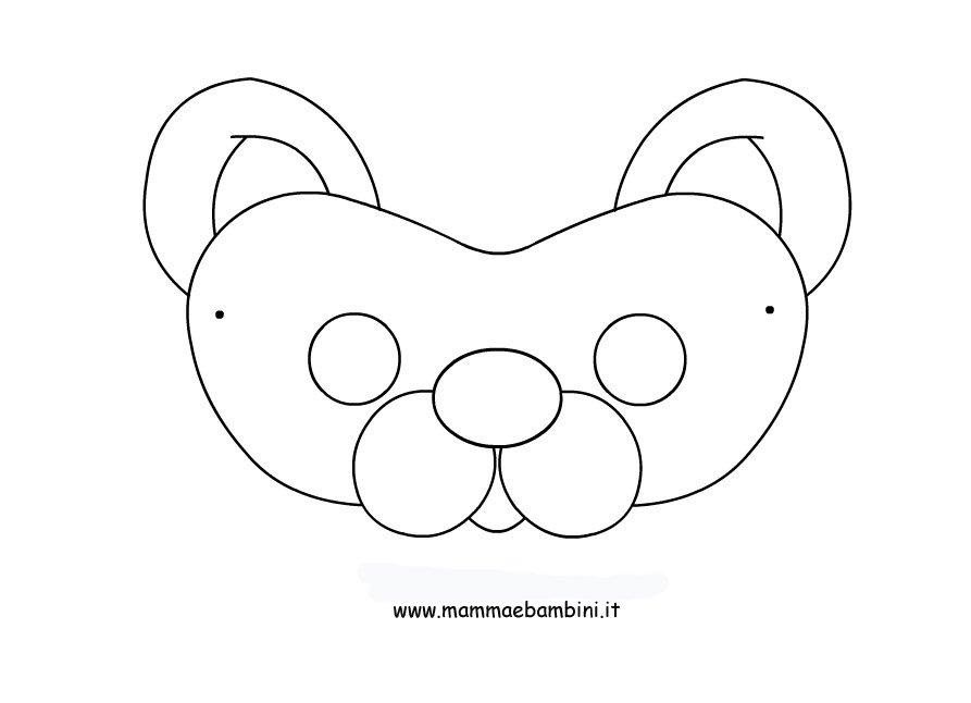 maschera orso da colorare