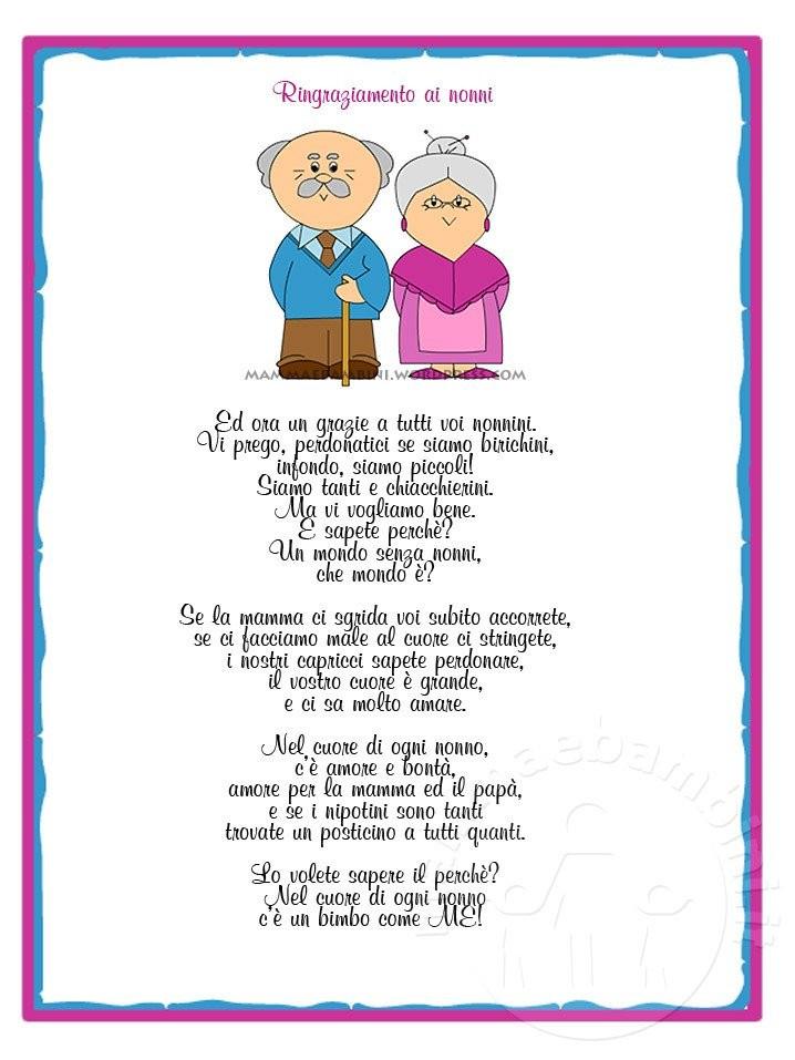 """Poesia sui nonni con cornice """"I nonni"""""""