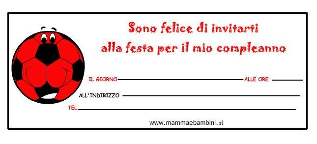 """Biglietti inviti compleanno """"pallone"""" con i colori del Milan"""