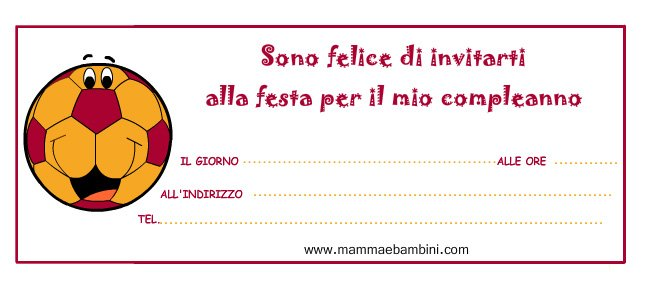 Biglietti inviti festa pallone con i colori della roma for Disegni della roma da colorare