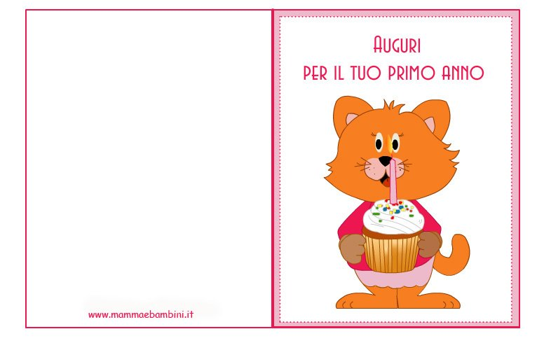 Conosciuto Biglietti compleanno: torta 1 anno per bambina - Mamma e Bambini YA89