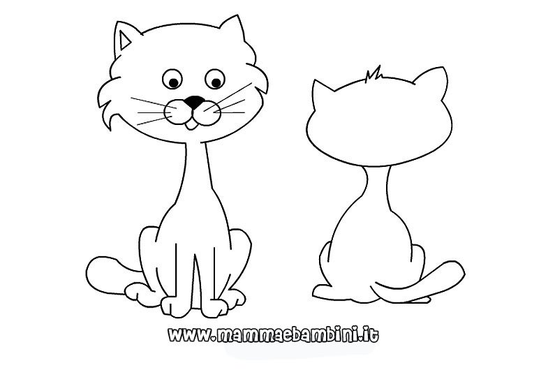 Disegni da colorare sui gatti mamma e bambini for Gatto da colorare per bambini