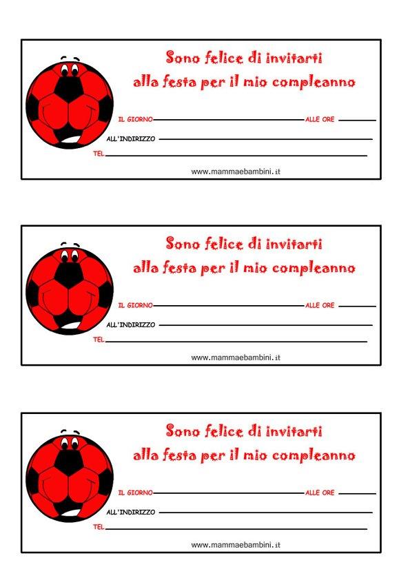 """Bien connu Biglietti inviti compleanno """"pallone"""" con i colori del Milan  VZ56"""