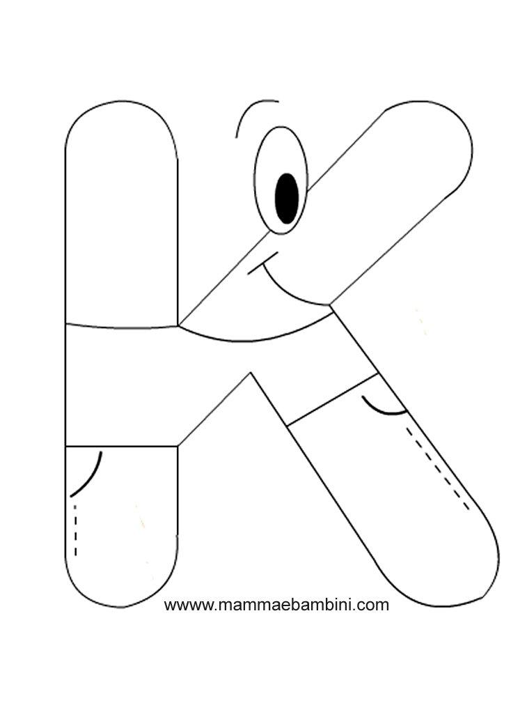 Alfabetiere lettera k mamma e bambini - Lettere animali da stampare ...