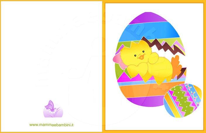 Biglietti auguri per pasqua uovo con pulcino mamma e - Modello di uovo stampabile gratuito ...
