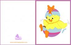 Biglietti auguri Pasqua: pulcino con fiocco