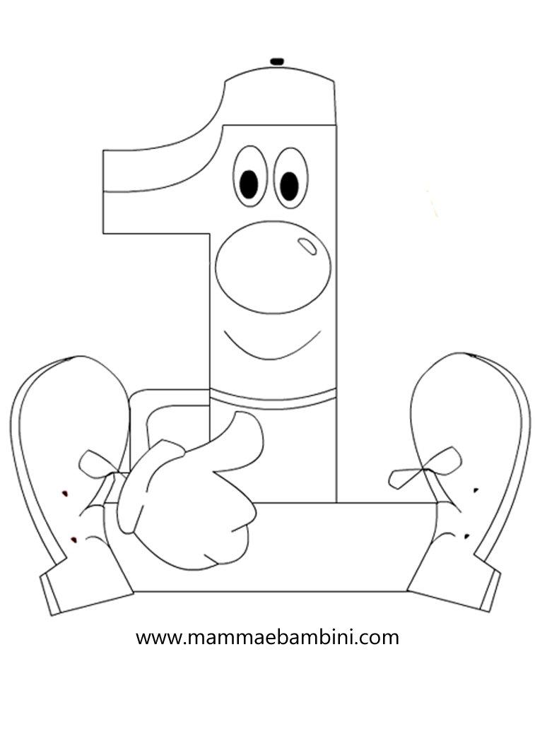 numeri da stampare e colorare 1 mamma e bambini