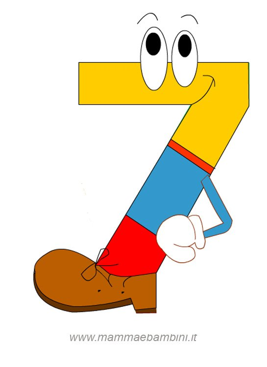 Numeri da stampare e colorare: il 7