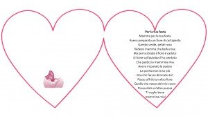 """Poesia scritta in un cuore """"Per la tua festa"""""""
