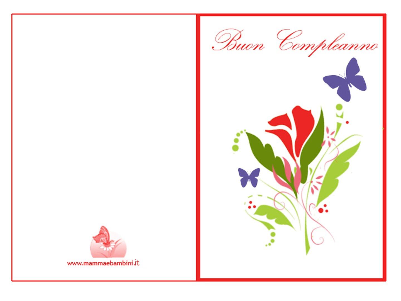 abbastanza Biglietti auguri compleanno da stampare con fiori - Mamma e Bambini AE44