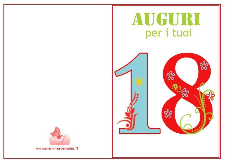 Favoloso Biglietto compleanno 18 anni da stampare - Mamma e Bambini KP47