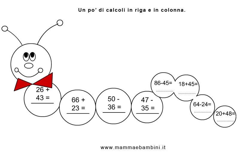 Conosciuto Matematica: operazioni in riga e in colonna n.2 - Mamma e Bambini EL51