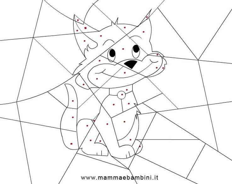 Disegni per bambini colora i puntini mamma e bambini for Gatto da colorare per bambini