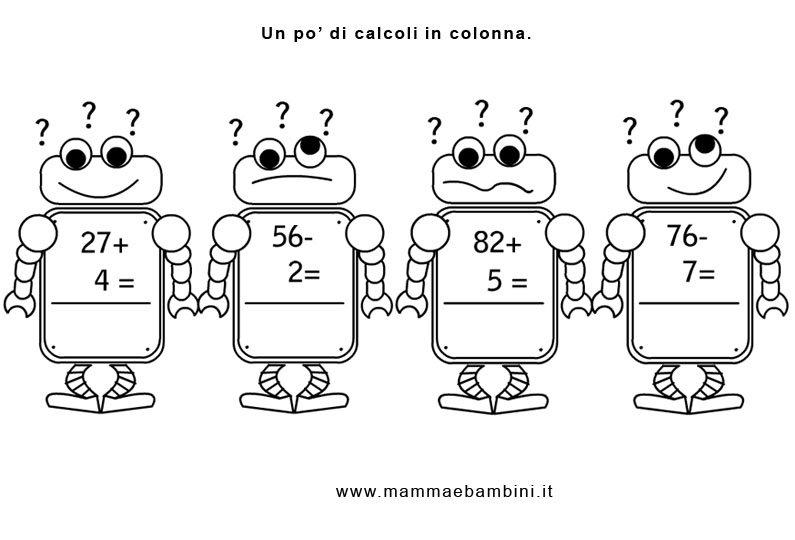 Popolare Matematica scheda con operazioni in colonna - Mamma e Bambini FU24
