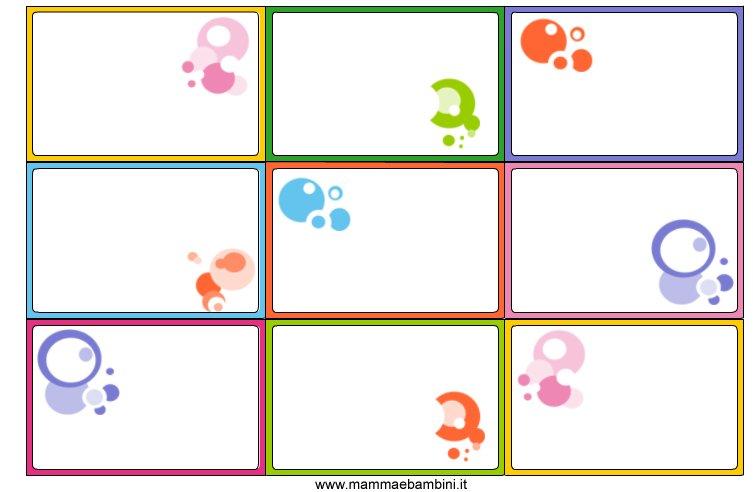 Etichette da stampare con bolle colorate