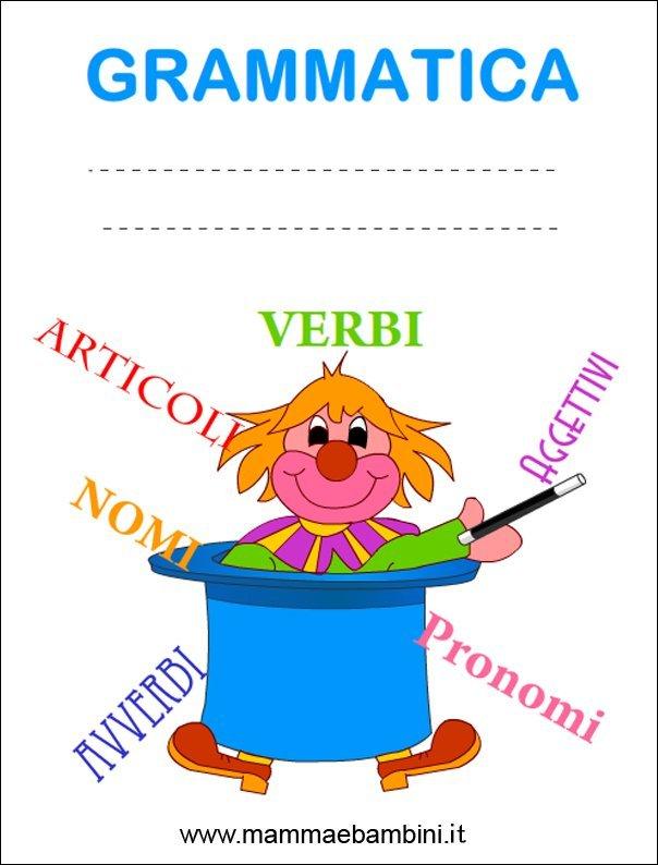 Copertina quaderno grammatica da stampare