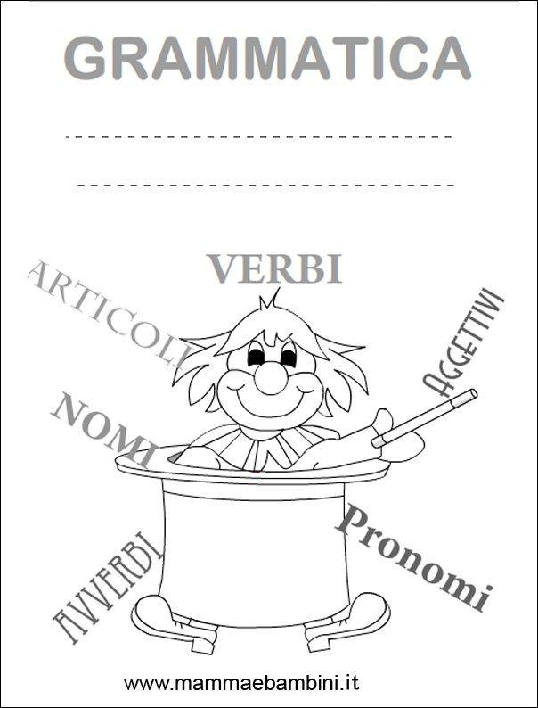 Super Copertina quaderno grammatica da stampare - Mamma e Bambini DK64