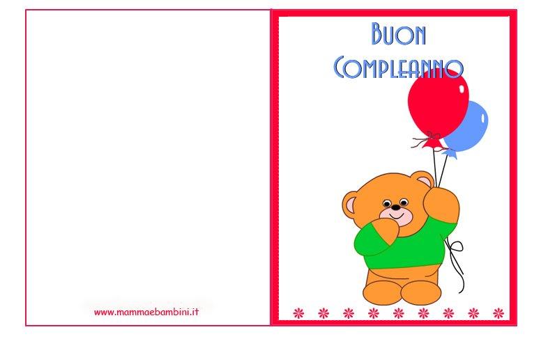 Molto Biglietti auguri compleanno: orsetto con palloncini - Mamma e Bambini RS02
