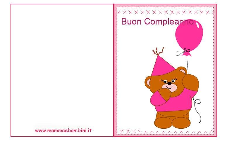 Conosciuto Biglietti compleanno da stampare: orso rosa - Mamma e Bambini UM97