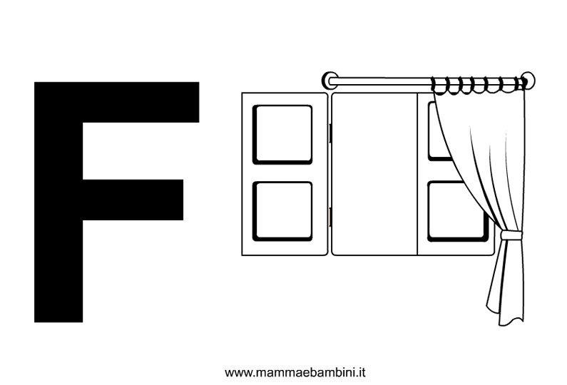 Lettere alfabeto con disegni: la F