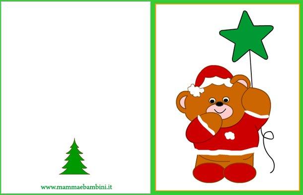 Biglietto auguri natale da stampare orso con stella for Biglietti auguri natale da stampare