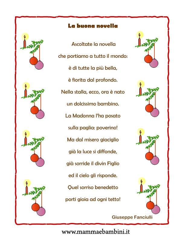 """Poesia Natale con cornice """"La buona novella"""""""