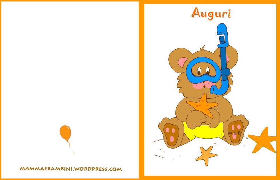 Biglietti auguri compleanno:orso al mare
